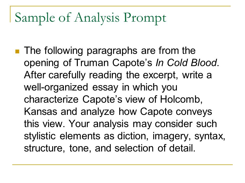 Sample Of Analysis Essay