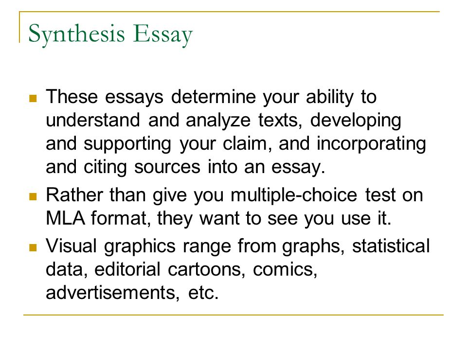 synthesis essay format Writing a synthesis essay should really be seriously taken synthesis essay writing can range from excellent to poorly written essays  synthesis essay format:.