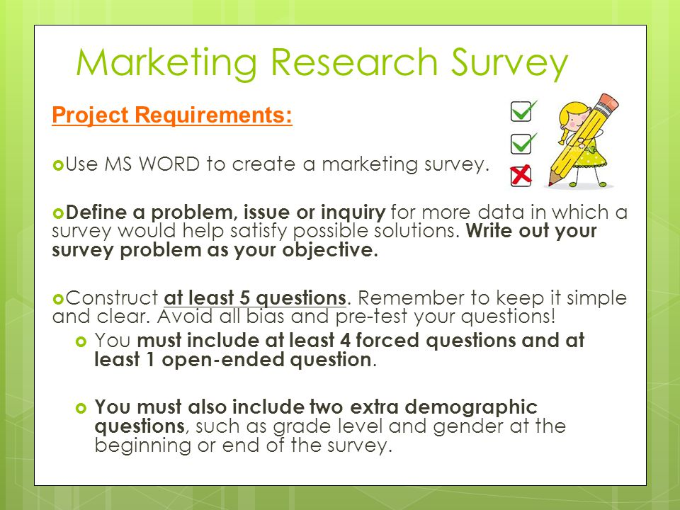 marketing research test questions Market research is the process as part of the market research sample, and it results in questions or issues conduct market research to test the.