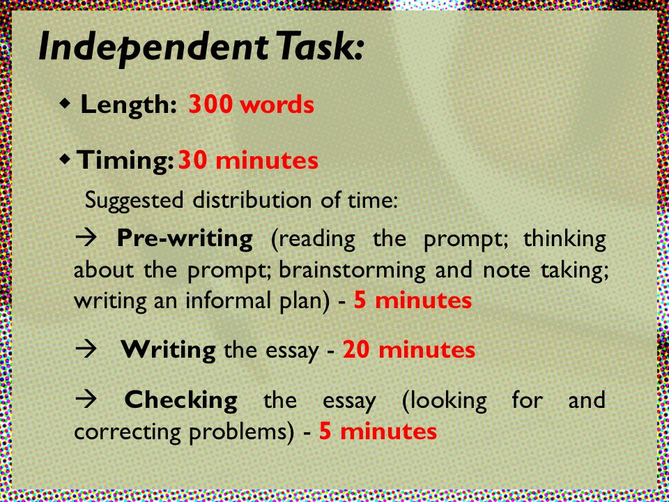 toefl independent essay length Hi all, this is the first essay i'm posting on this forum my toefl is in two weeks concerning the essay, i just took a.
