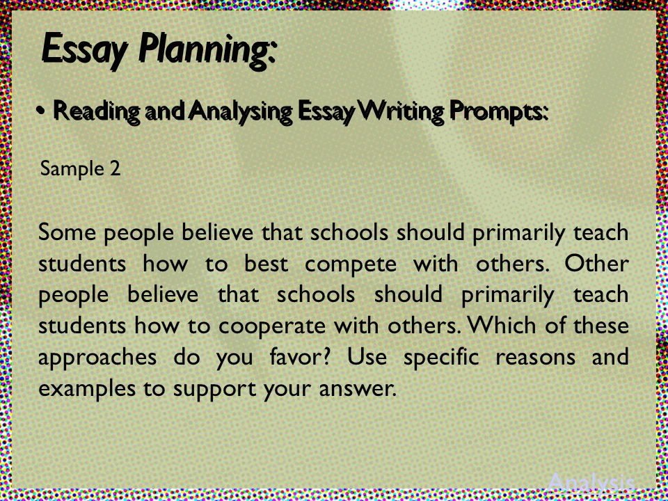 Analysis essay writing prompt