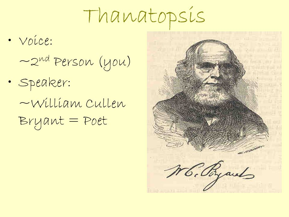 sparknotes thanatopsis The song of the lark is the third novel by american author willa cather, written in  1915  robert burns, william cullen bryant's thanatopsis, hans christian  andersen's the snow queen, william shakespeare's hamlet, and jules verne.
