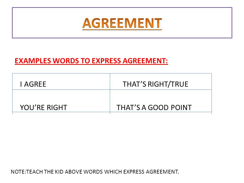 AGREEMENT DISAGREEMENT ppt download – Words of Agreement