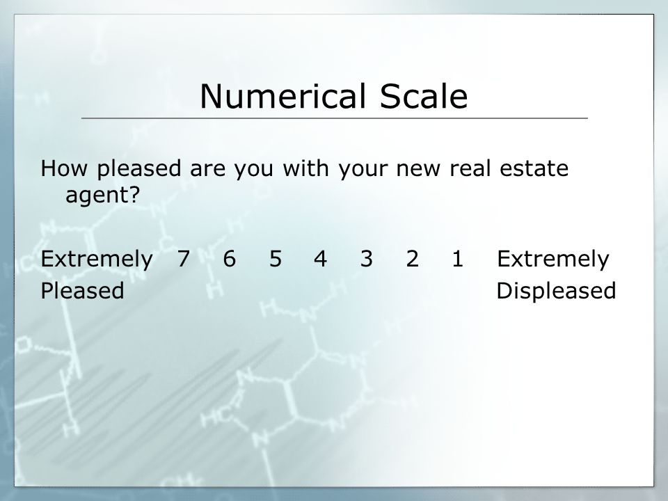 Numerical Scale How pleased are you with your new real estate agent
