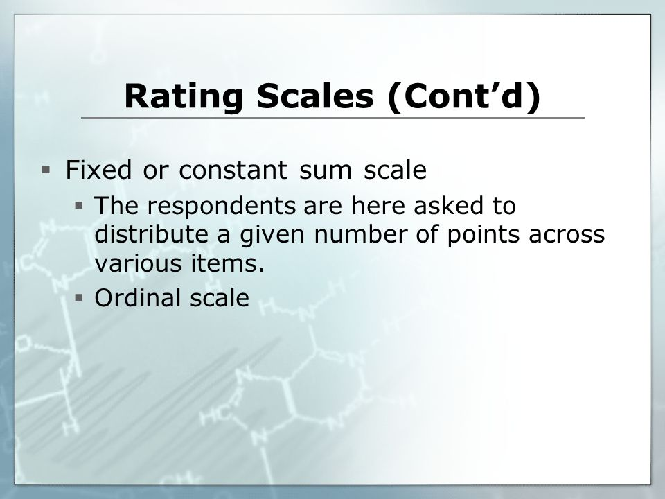 Rating Scales (Cont'd)