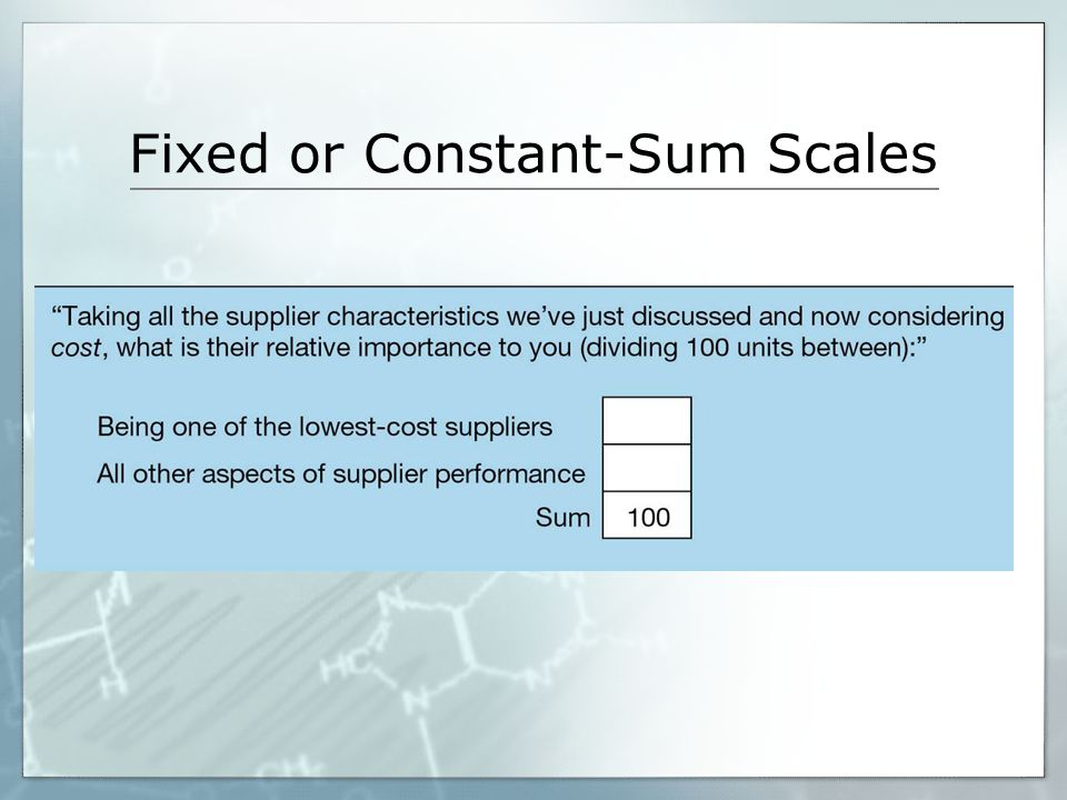 Fixed or Constant-Sum Scales