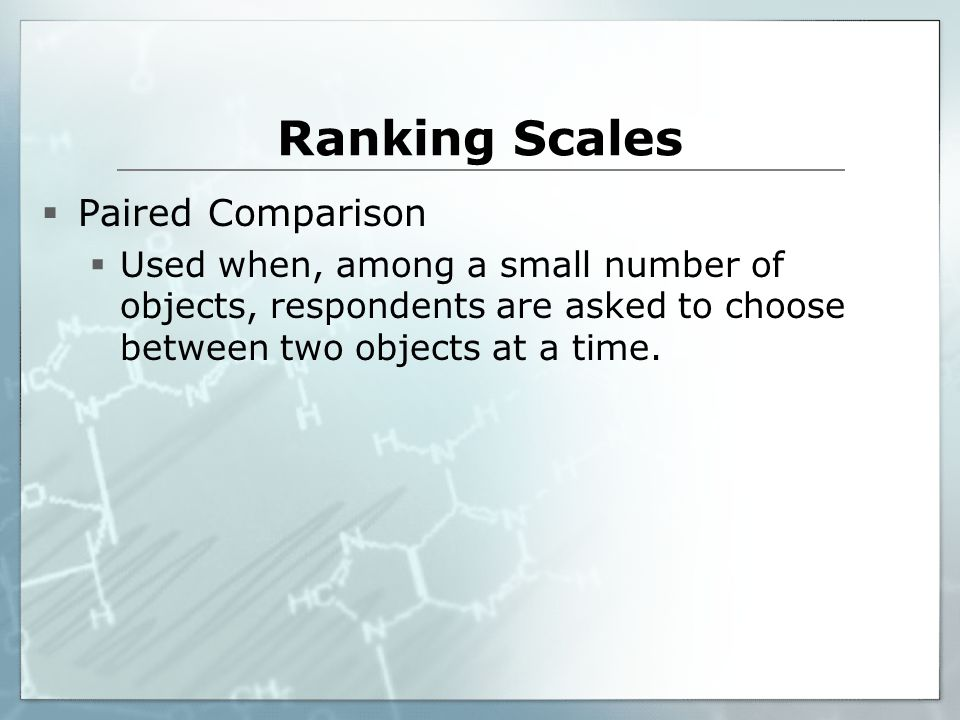 Ranking Scales Paired Comparison