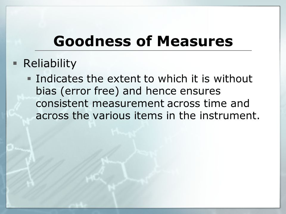Goodness of Measures Reliability