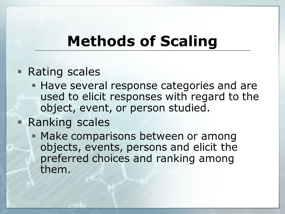Methods of Scaling Rating scales Ranking scales