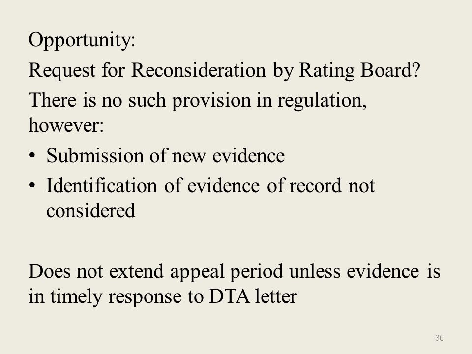opportunity request for reconsideration by rating board there is no such provision in regulation - Sample Letter Of Appeal For Reconsideration