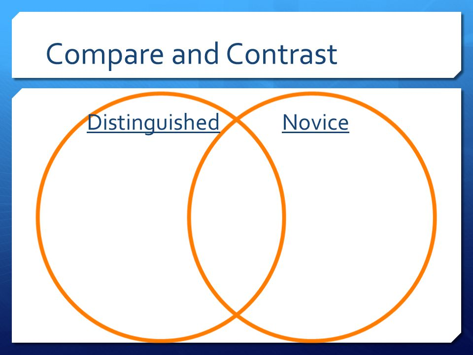 Compare and Contrast Distinguished Novice