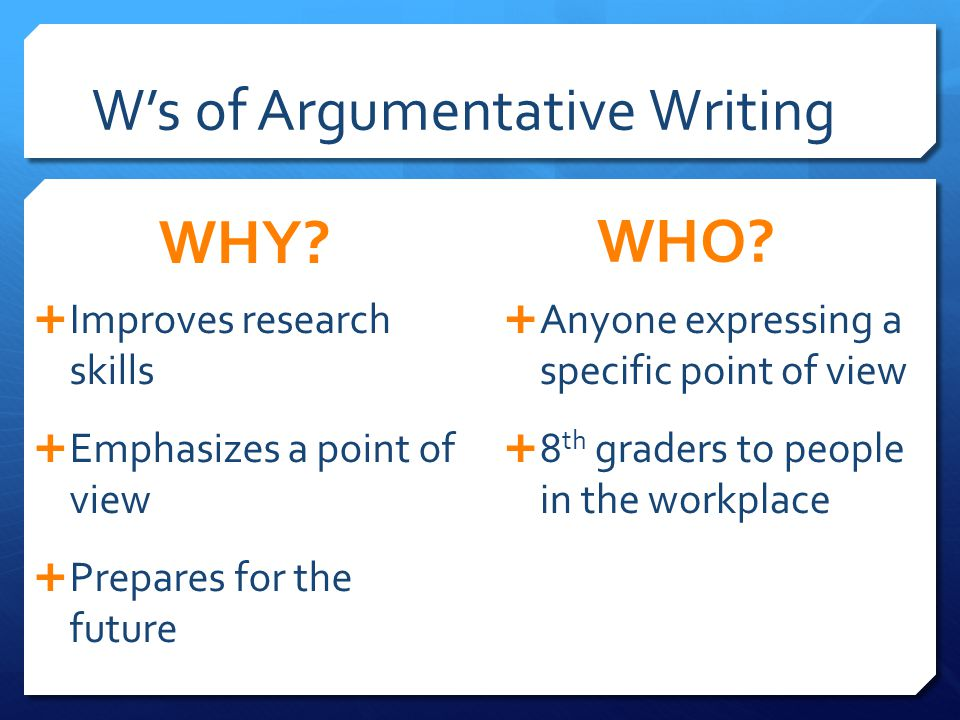 W's of Argumentative Writing