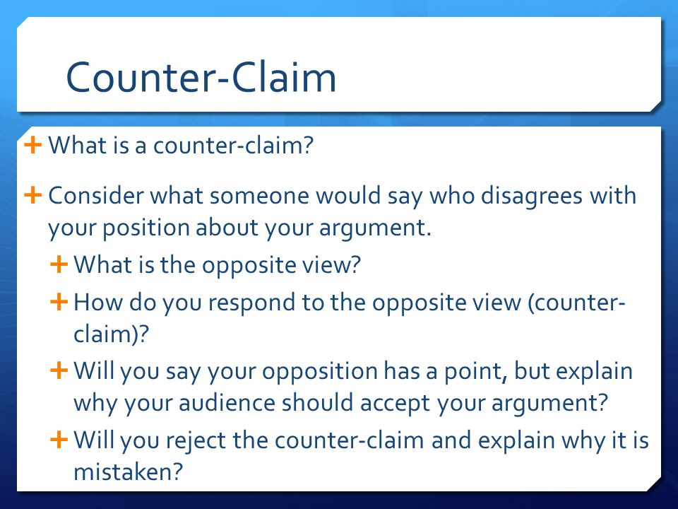 Counter-Claim What is a counter-claim