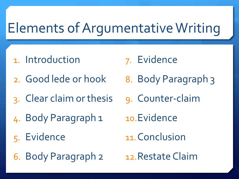 elements argumentative essay ppt To effectively write an argument, you need to know the four basic parts in this lesson, you will learn the definitions of the four basic parts.