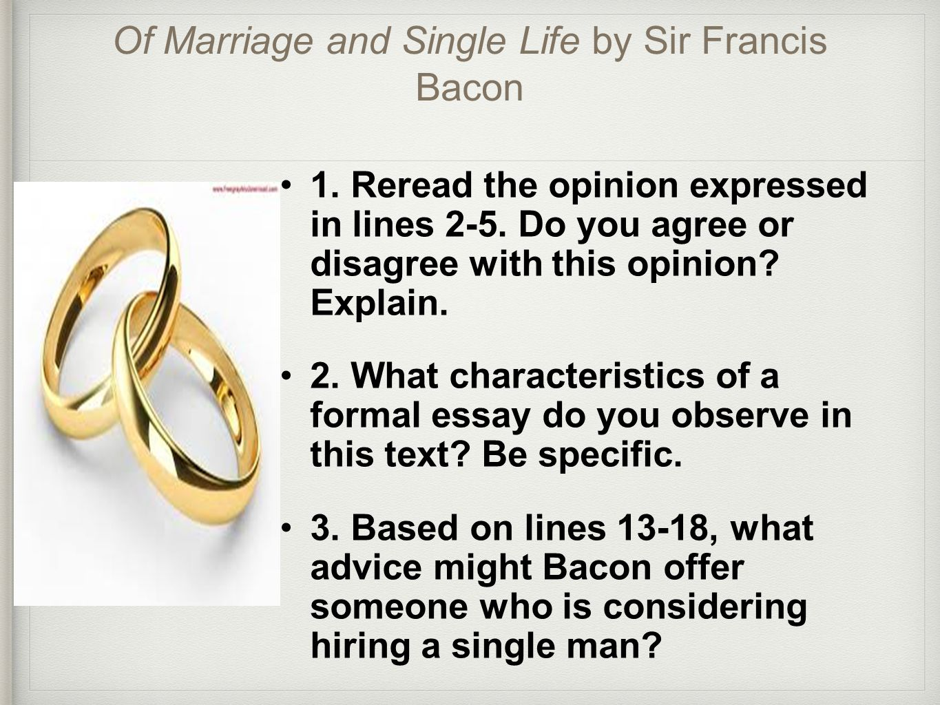 sir francis bacons essay of marriage and the single life