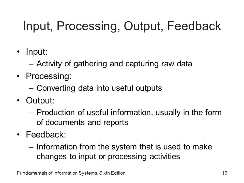 Input, Processing, Output, Feedback