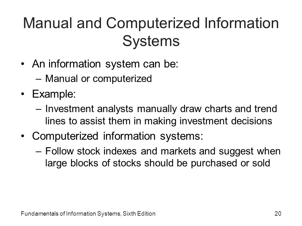 Manual and Computerized Information Systems