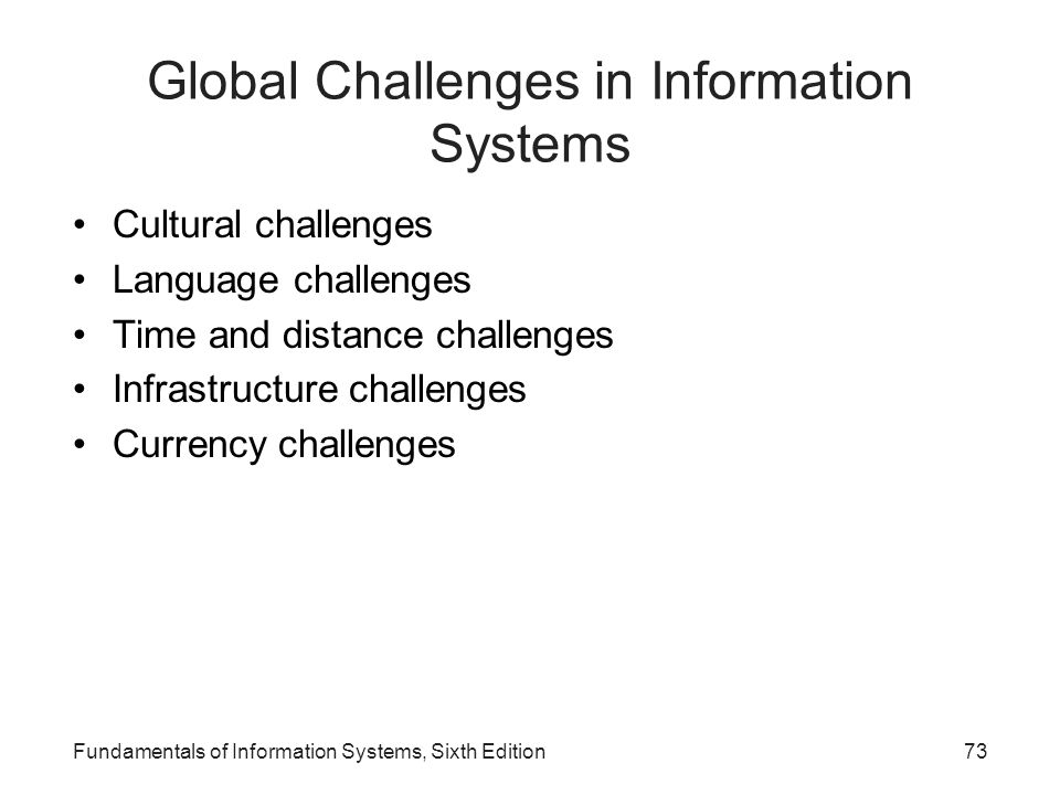 Global Challenges in Information Systems