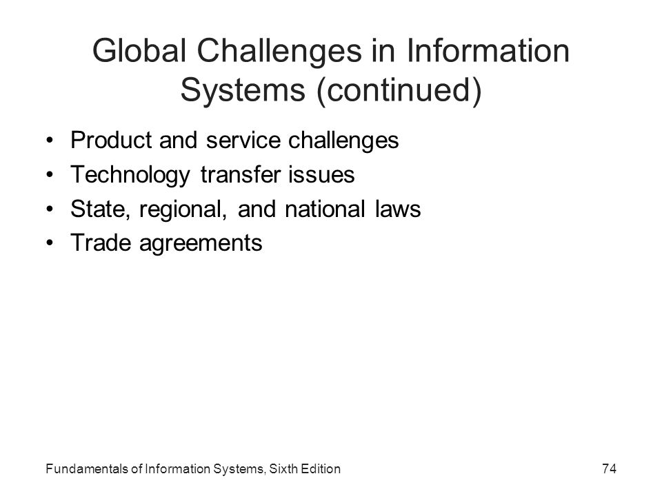 Global Challenges in Information Systems (continued)