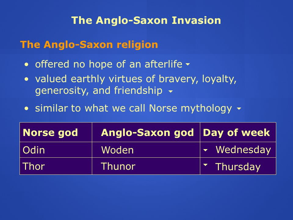 the belief of the anglo saxons about afterlife The anglo-saxons were a people who inhabited great britain from the 5th the belief was the christian church was roman therefore a masonry church was a roman.