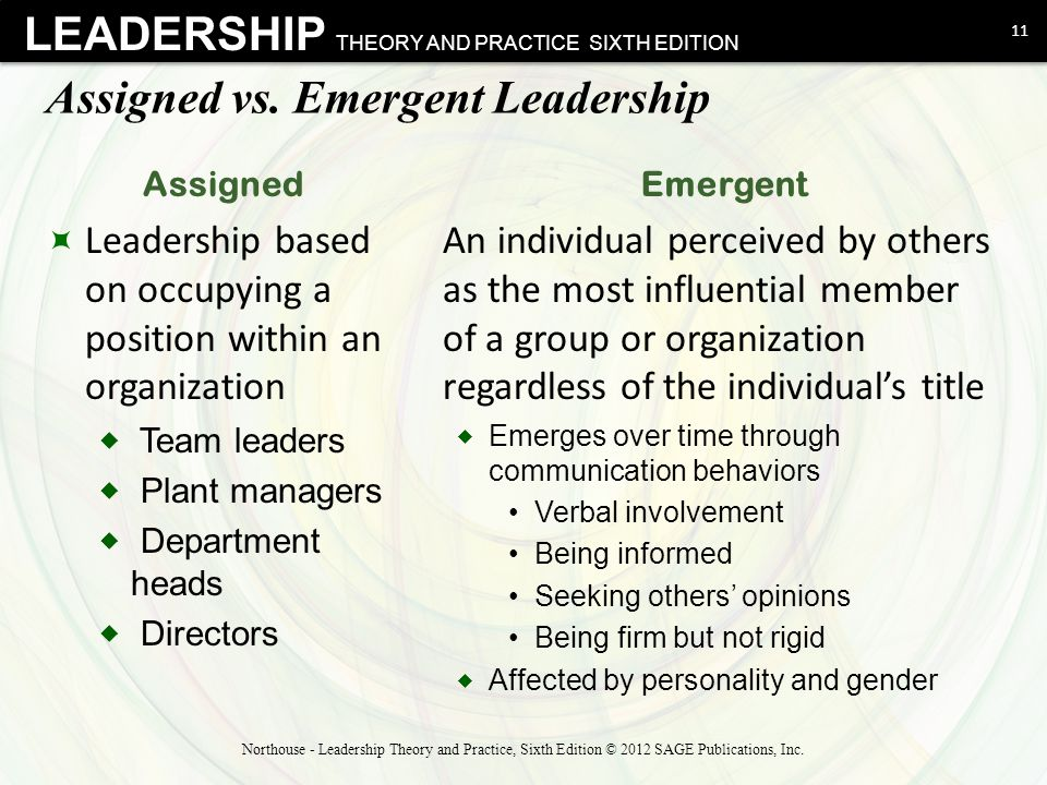 assigned versus emergent leadership Assigned versus emergent leadership essay sample assigned leadership is primarily by appointment of people to formal leadership positions of authority within an.