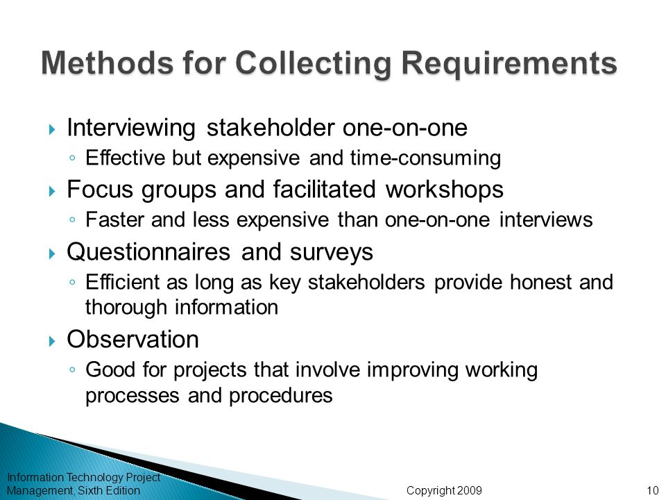 Methods for Collecting Requirements