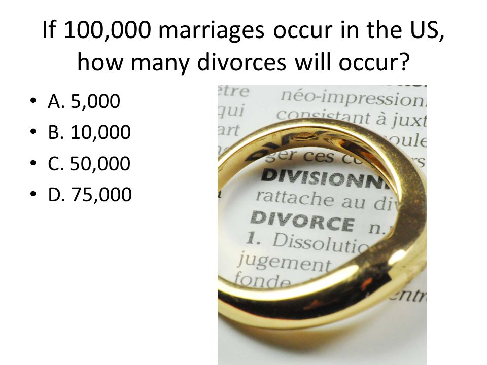 If 100,000 marriages occur in the US, how many divorces will occur