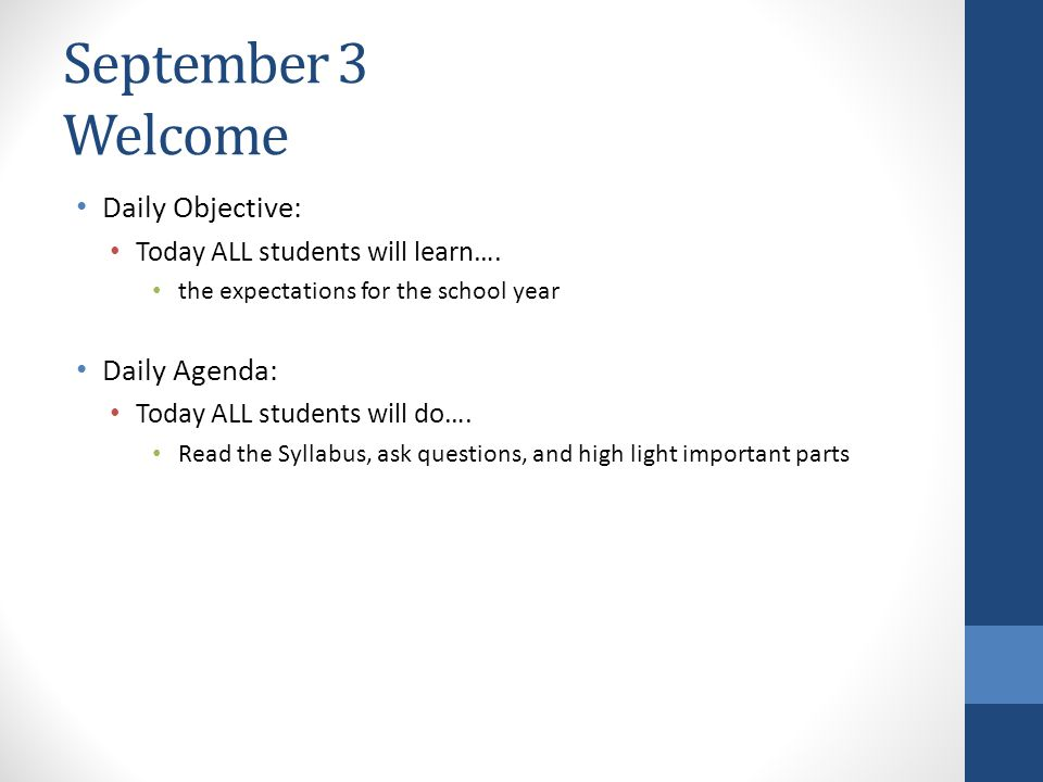 September  Welcome Daily Objective Daily Agenda  Ppt Download