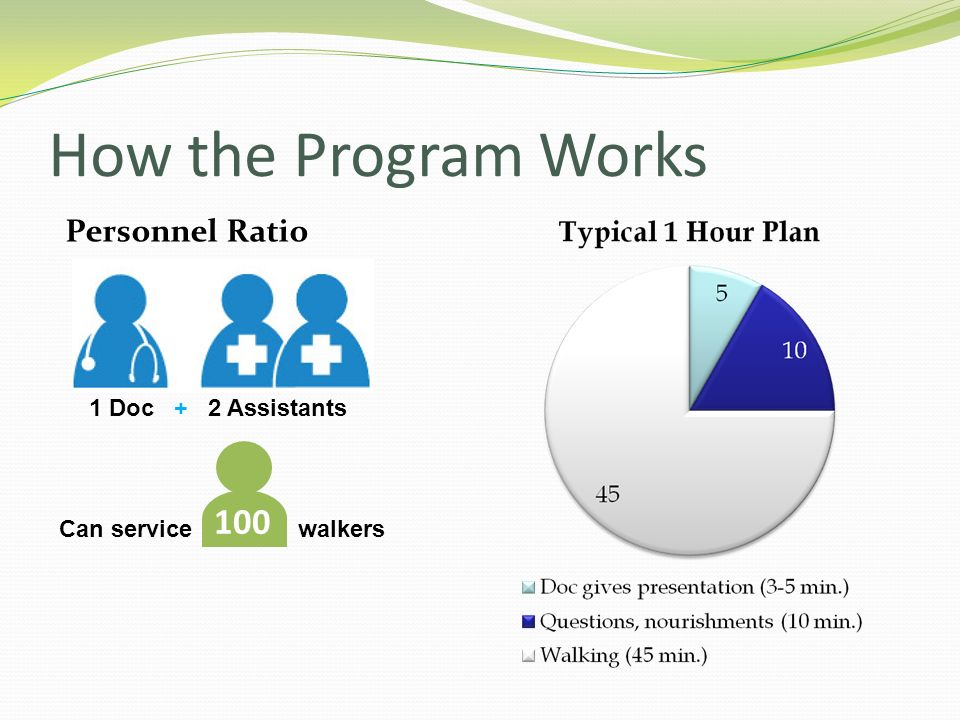 How the Program Works 100 Personnel Ratio 1 Doc + 2 Assistants