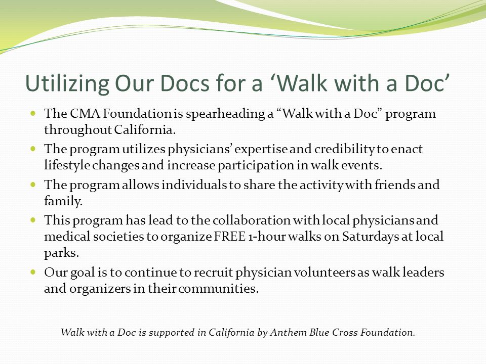 Utilizing Our Docs for a 'Walk with a Doc'
