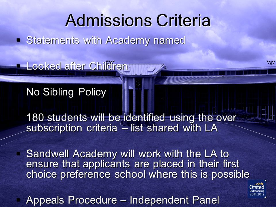 Admissions Criteria Statements with Academy named