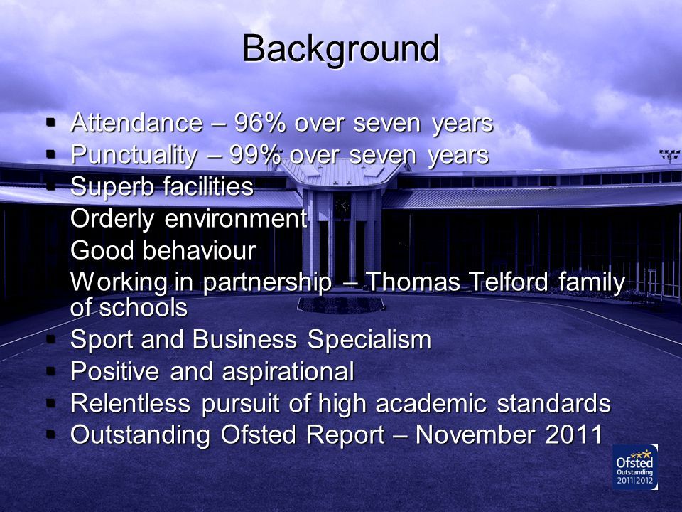 Background Attendance – 96% over seven years