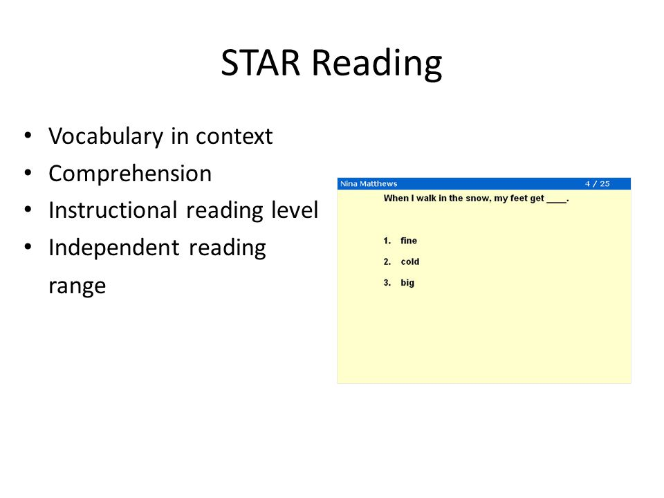 instructional reading level score