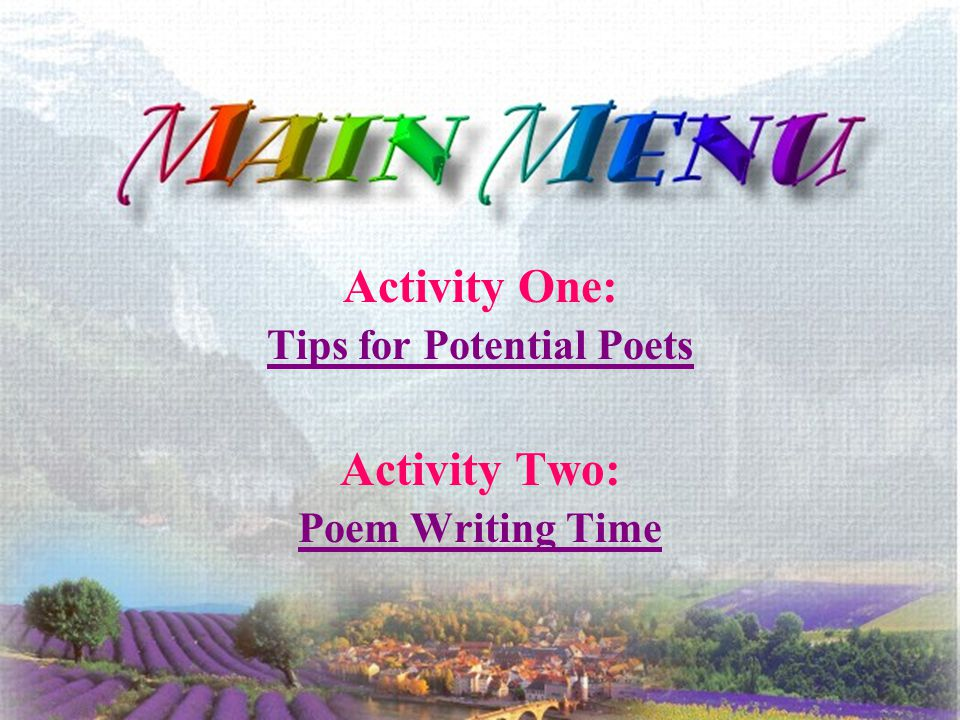 tips for writing poems How to write a poem writing a poem is all about observing the world within or around you a poem can be about anything.