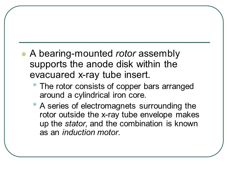 A bearing-mounted rotor assembly supports the anode disk within the evacuared x-ray tube insert.