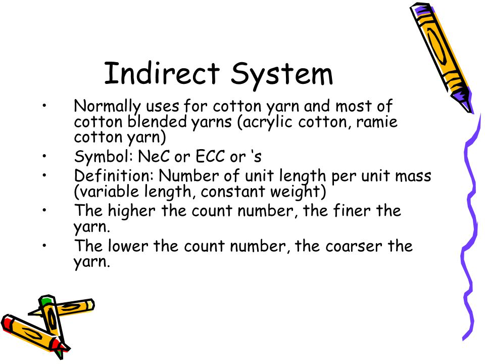 Indirect System Normally uses for cotton yarn and most of cotton blended yarns (acrylic cotton, ramie cotton yarn)
