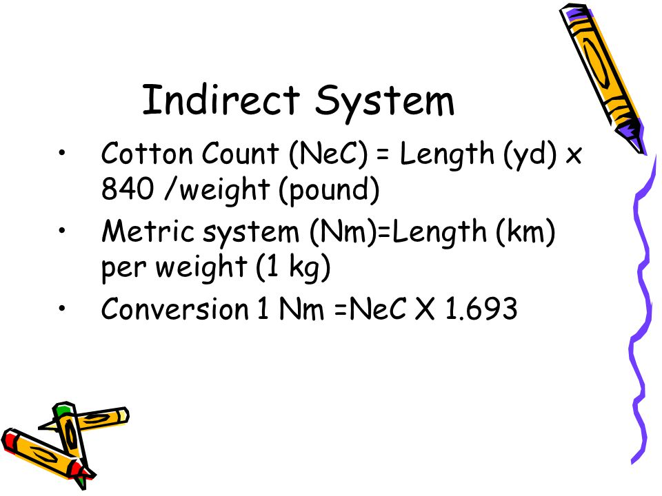 Indirect System Cotton Count (NeC) = Length (yd) x 840 /weight (pound)