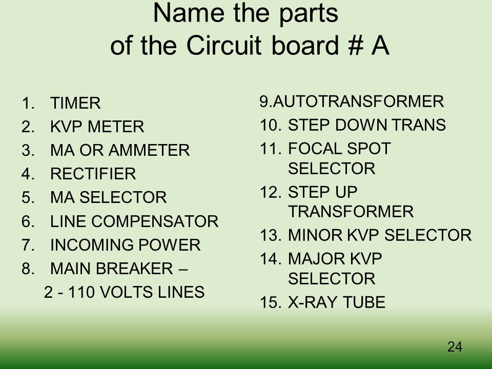 Name the parts of the Circuit board # A