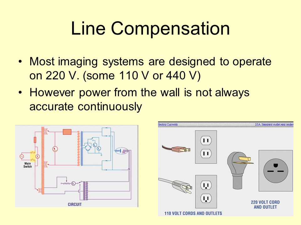 Line Compensation Most imaging systems are designed to operate on 220 V. (some 110 V or 440 V)