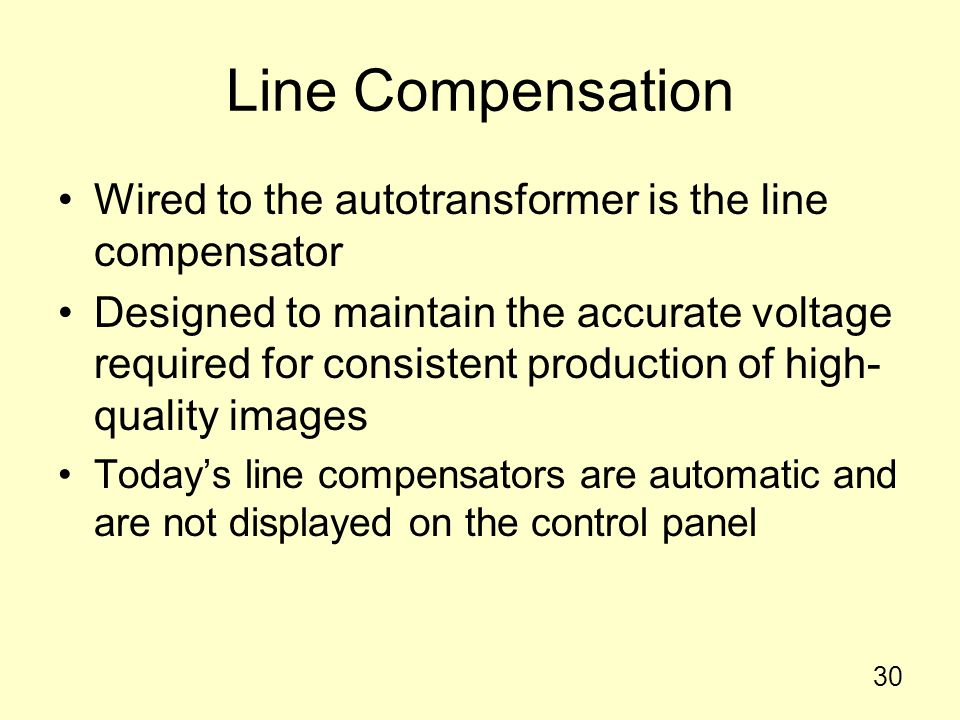 Line Compensation Wired to the autotransformer is the line compensator