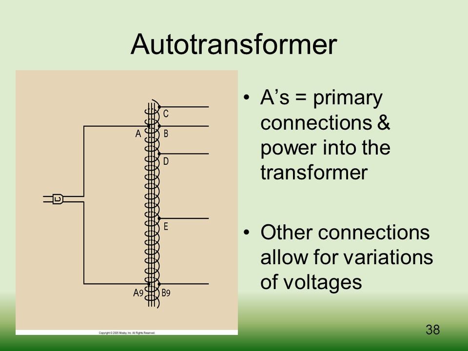 Autotransformer A's = primary connections & power into the transformer