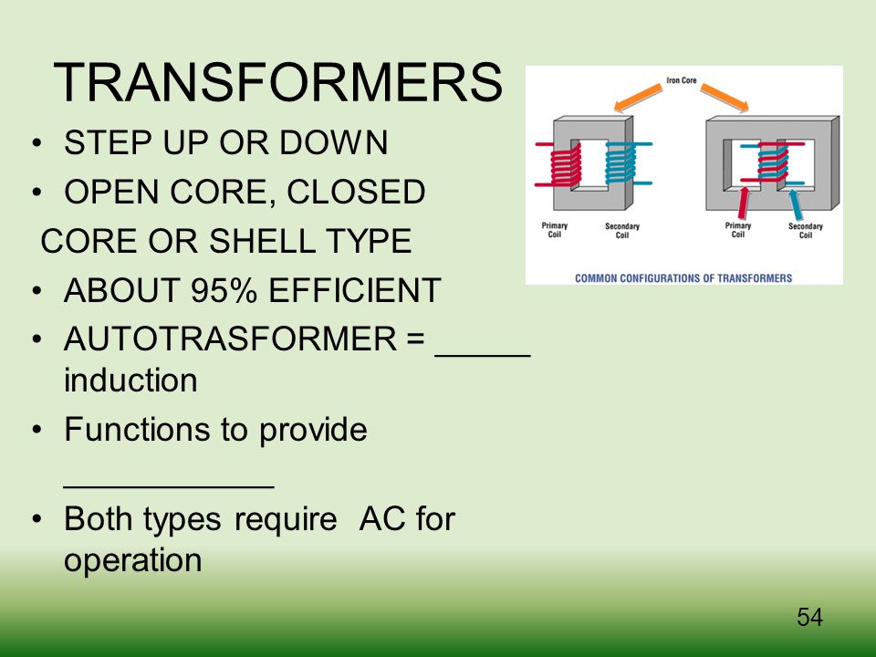 TRANSFORMERS STEP UP OR DOWN OPEN CORE, CLOSED CORE OR SHELL TYPE