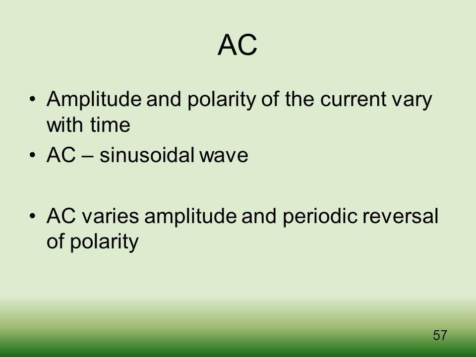 AC Amplitude and polarity of the current vary with time