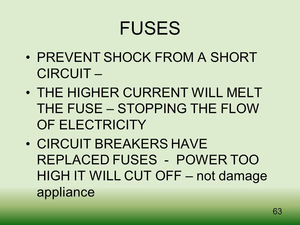 FUSES PREVENT SHOCK FROM A SHORT CIRCUIT –