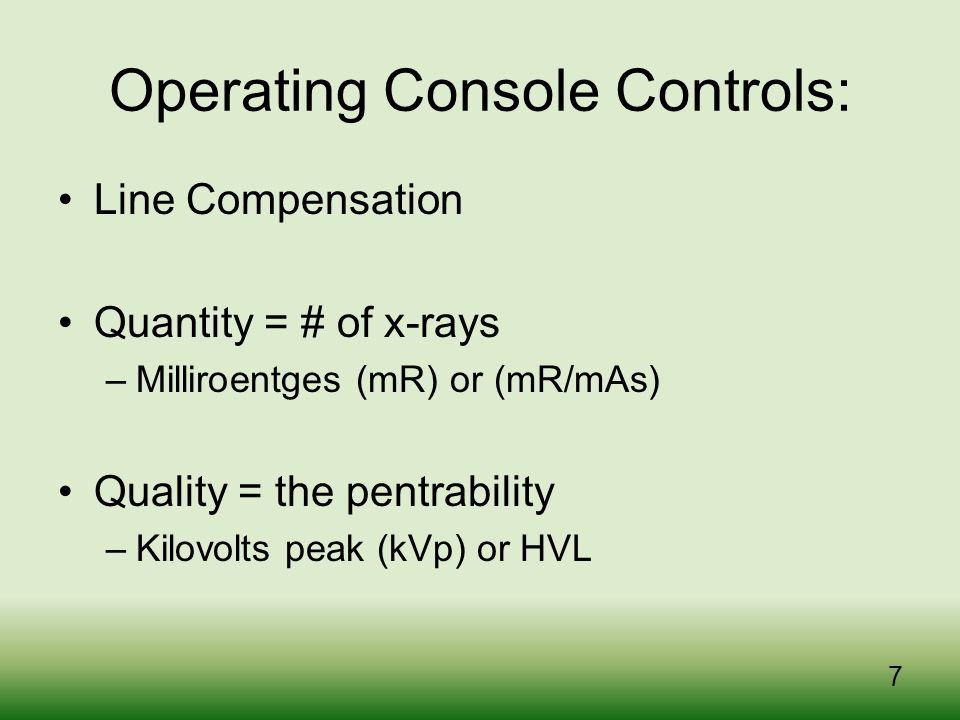 Operating Console Controls: