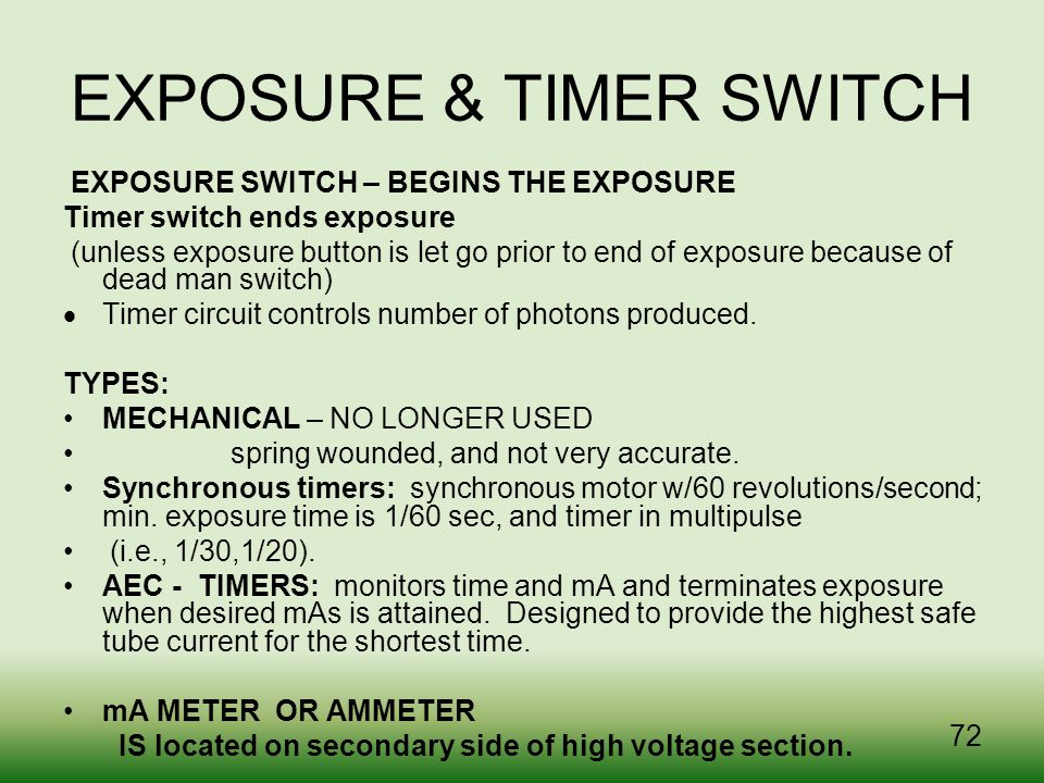 EXPOSURE & TIMER SWITCH