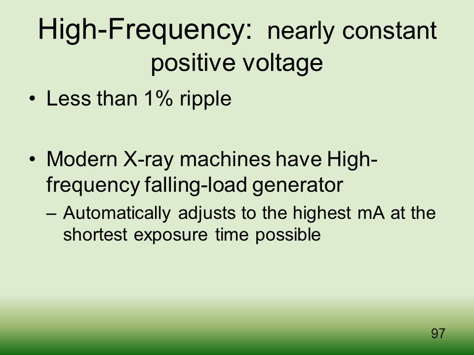 High-Frequency: nearly constant positive voltage