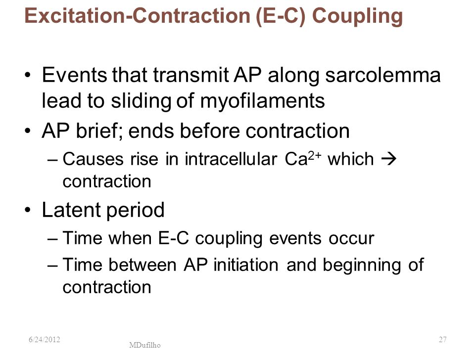 excitation contraction coupling Print chapter 9 muscles and muscle tissue flashcards and study them anytime, anywhere excitation-contraction coupling is a series of events that occur after the events of the neuromuscular junction have transpired.