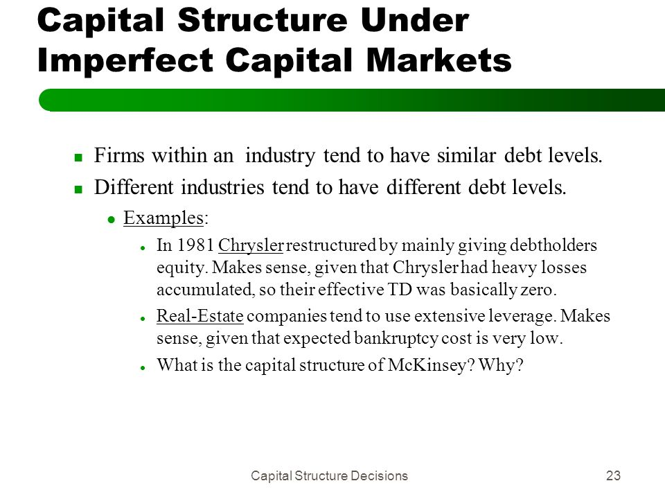 real estate and capital structure decisions Capital structure decision you are comparing the debt ratios of real estate corporations factors that they considered important in the financing decisions.