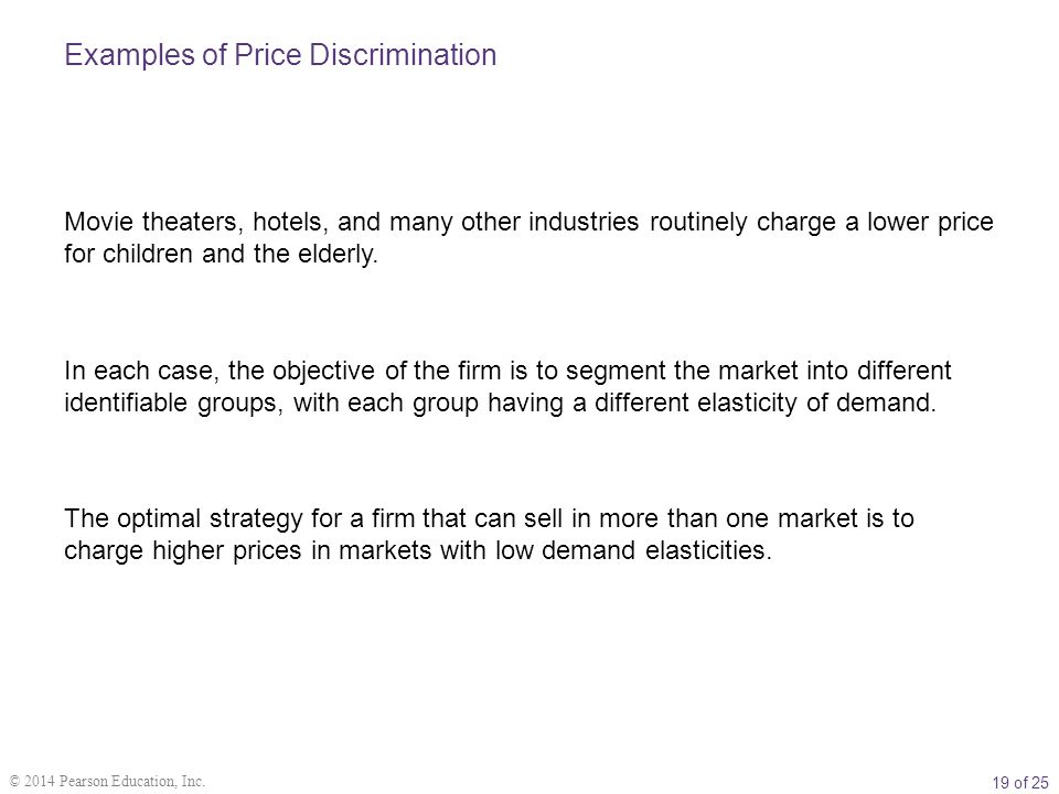 an example of price discrimination Price discrimination in college tuition: an  serve as an example to students about how price discrimination in higher education takes place this.